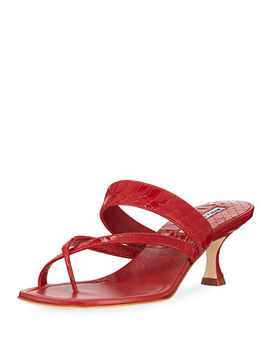 Susa Strappy Snakeskin Thong Sandals by Manolo Blahnik