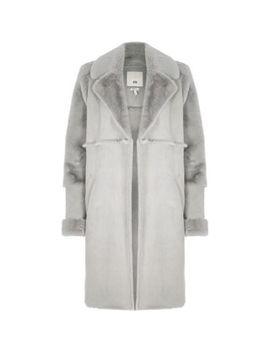 Petite Grey Suede Faux Fur Trim Longline Coat by River Island