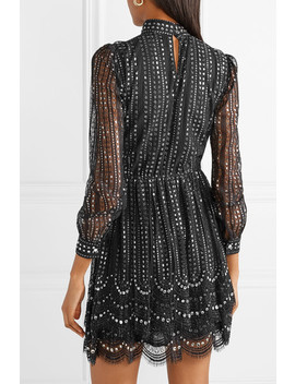 Crystal Embellished Metallic Lace Mini Dress by Michael Michael Kors