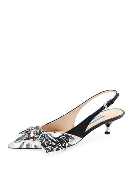 Lipstick Print Slingback Pumps With Bow by Prada