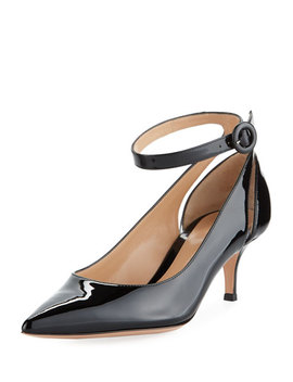 Shiny Patent Low Heel Ankle Strap Pumps by Gianvito Rossi