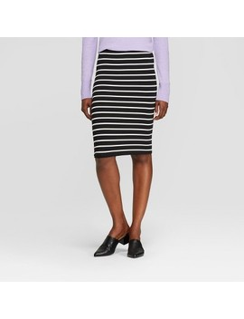 Women's Striped Knit Skirt   A New Day™ Black/Cream by A New Day