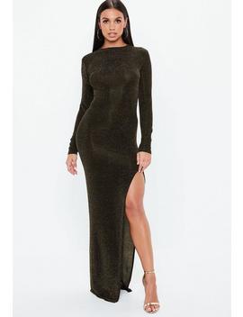 Bronze Glitter Side Split Maxi Dress by Missguided
