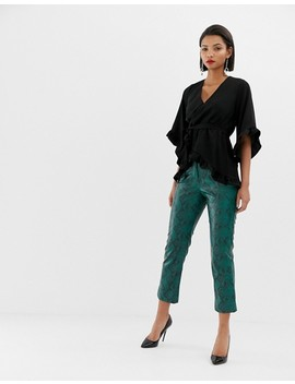 River Island Wrap Front Blouse With Frill Sleeves In Black by River Island