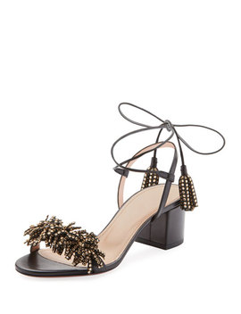 Wild Crystal Fringed Block Sandals by Aquazzura