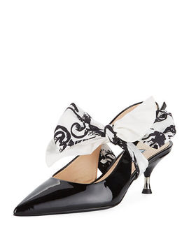 Patent Slingback Pump With Tie by Prada