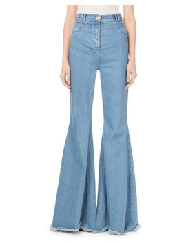 High Waist Flare Leg Fray Hem Jeans by Balmain