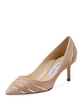 Romy 60mm Metallic Leather Piped Suede Pumps by Jimmy Choo
