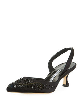 Carolyne Embroidered Satin Low Heel Halter Pumps by Manolo Blahnik
