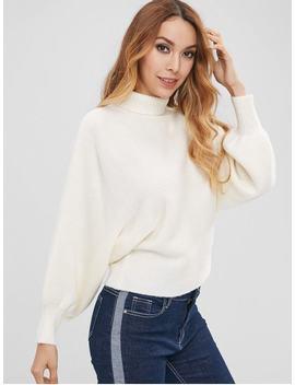 Zaful Dolman Sleeve Turtleneck Sweater   White S by Zaful