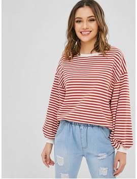 Striped Blouson Sleeve Oversized Sweater   Multi by Zaful