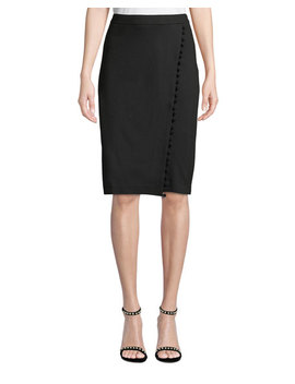 Faux Wrap Pompom Trim Pencil Skirt by Carmen By Carmen Marc Valvo