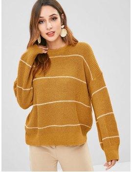 Stripe Knit Oversized Sweater   Sandy Brown by Zaful