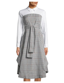 Plaid Combo A Line Shirtdress by English Factory