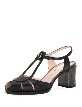 Chameleon Leather Block Heel Sandal by Fendi