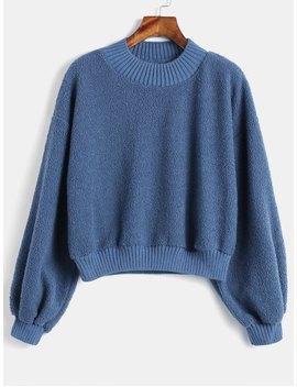 Fluffy Plain Teddy Sweatshirt   Blue M by Zaful