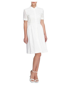 Izzy Lace Shell Dress, White by Catherine Catherine Malandrino