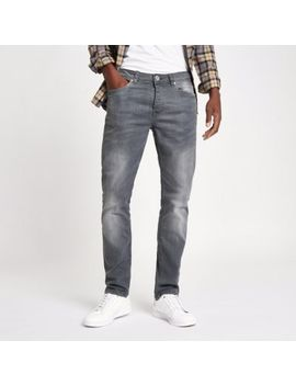 Grey Wash Fade Dylan Slim Fit Jeans by River Island