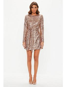 Peace + Love Gold Tie Waist Shift Dress by Missguided