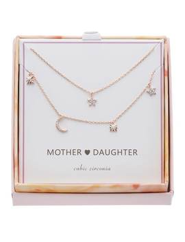 14k Rose Gold Over Brass Cubic Zirconia Moon & Stars Mother Daughter Necklace Set by Kohl's