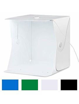 """Amzdeal Photo Box   Portable Photo Studio 16""""X16""""/40x40cm Light Box Foldable Shooting Tent Updated Fixed Button And Metal With Led Strip + 4 Background (Black/White/Blue/Green) by Amzdeal"""