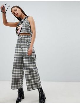 The Ragged Priest Cropped Wide Leg Pants In Check by The Ragged Priest
