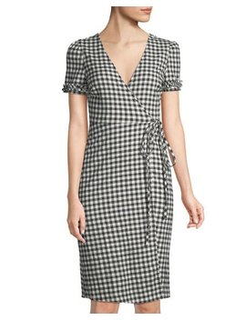 Short Sleeve Gingham Wrap Dress by Madisonne
