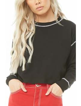 Topstitched Waffle Knit Top by Forever 21