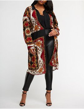 Plus Size Printed Twisted Front Tunic by Charlotte Russe