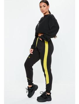 Black Contrast Yellow Stripe Joggers by Missguided