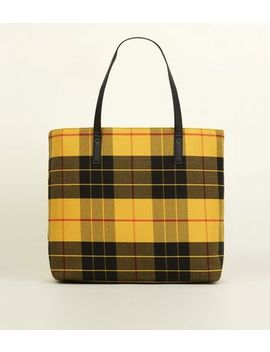 Mustard Woven Check Tote Bag by New Look
