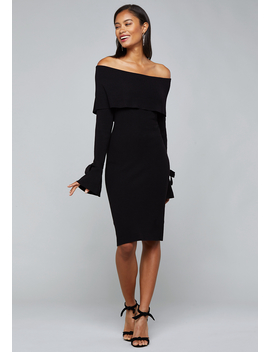Ribbed Off Shoulder Dress by Bebe