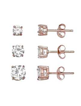 Primrose 14k Rose Gold Over Silver 3 Pair Cubic Zirconia Stud Earring Set by Kohl's