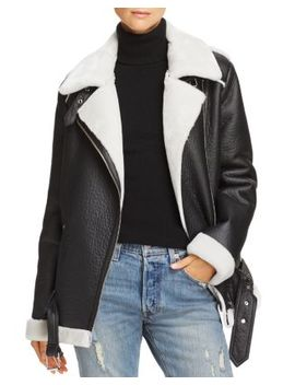 Faux Shearling Moto Jacket   100 Percents Exclusive by Aqua