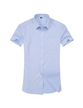 Men's Casual Dress Short Sleeved Shirt Twill White Blue Pink Black Male Slim Fit Shirt For Men Social Shirts 4 Xl 5 Xl 6 Xl 7 Xl 8 Xl by Qisha