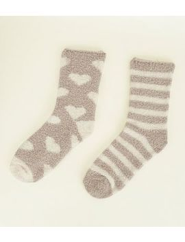 2 Pack Mink Heart And Stripe Fluffy Socks by New Look