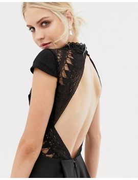 Chi Chi London High Low Midi Dress With Open Back In Black by Chi Chi London
