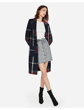 High Waisted Plaid Snap Button Sash Waist Skirt by Express