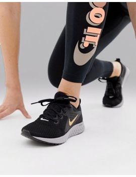 Nike Running Legend React Trainers In Black And Gold by Nike