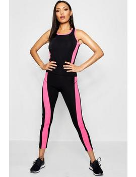 Contrast Panel Running Set by Boohoo