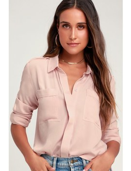 Chic Pursuit Light Blush Pink Long Sleeve Top by Lulus