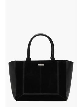 Mixed Texture Winged Structured Tote Bag by Boohoo