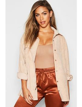 cord-oversized-shirt by boohoo