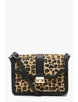 Leopard And Metal Lock Cross Body by Boohoo