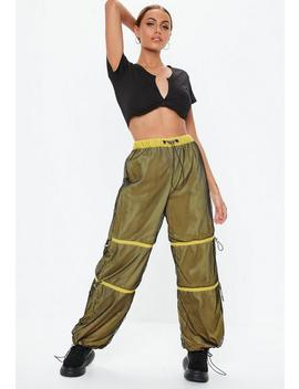Yellow Fishnet Toggle Waist Joggers by Missguided