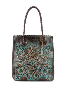 Tooled Turquoise Collection Cavo Floral Embossed Scalloped Tote by Patricia Nash