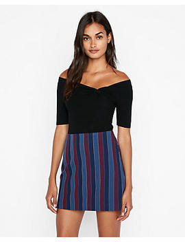 High Waisted Large Stripe Clean A Line Mini Skirt by Express