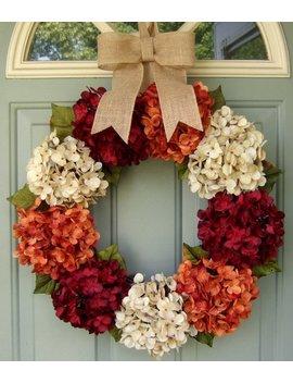 Fall Wreath   Fall Hydrangea Wreath   Fall Hydrangea Door Wreath by Etsy