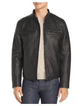 Zip Front Leather Moto Jacket by Cole Haan