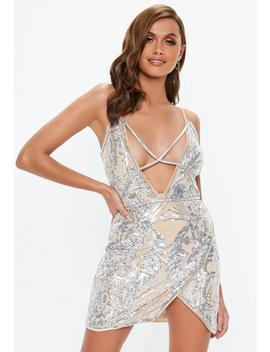 Nude Sequin Cross Front Strappy Mini Dress by Missguided
